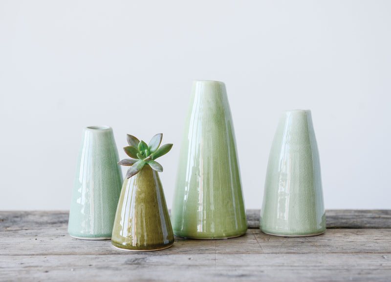 Pistachio Green Terracotta Vases (Set of 4 Sizes)