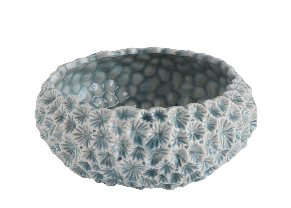 Light Blue Ceramic Planter with Flower Texture