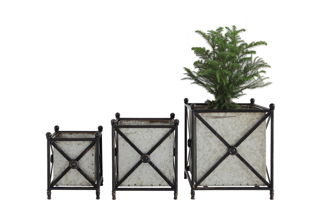 Square Grey Metal Flower Boxes Inside Decorative Black Frame (Set of 3 Sizes)