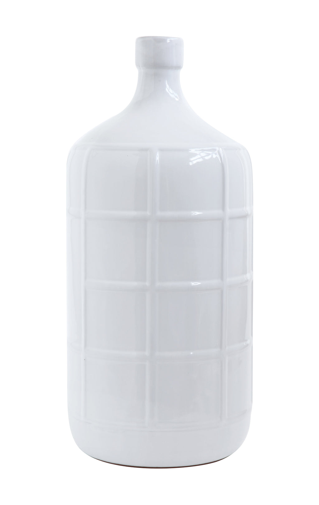 White Bottle Vase with Square Design