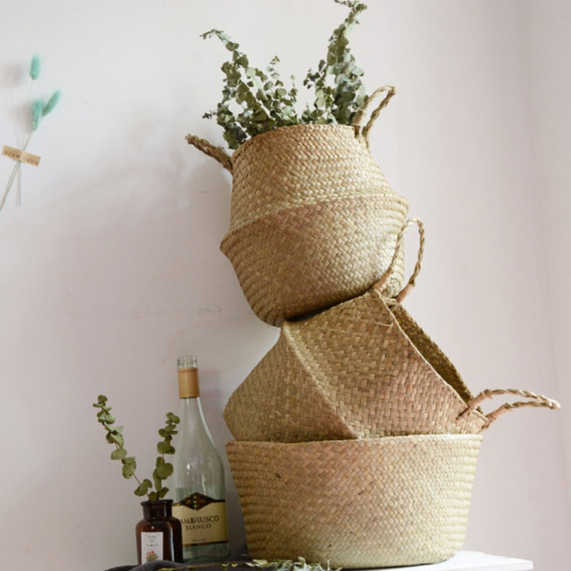 Handwoven Seagrass Rattan Foldable Baskets