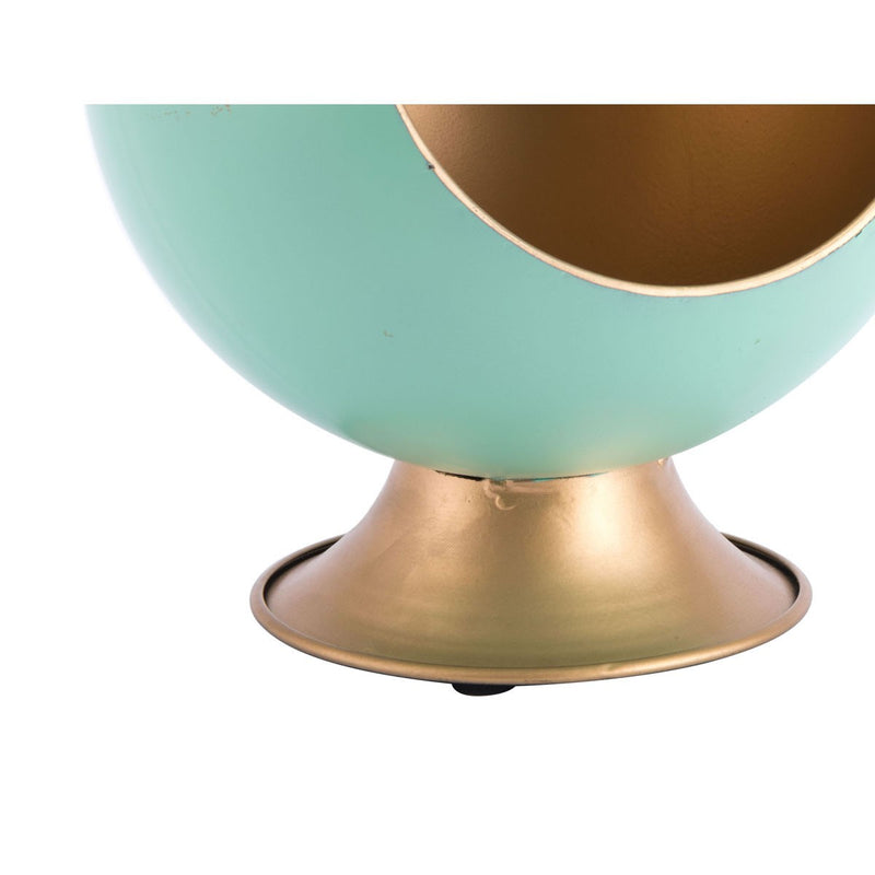 Mid-Century Mod Round Small Green Metal Planter