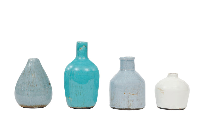 Blue & Ivory Terracotta Vases (Set of 4 Sizes)