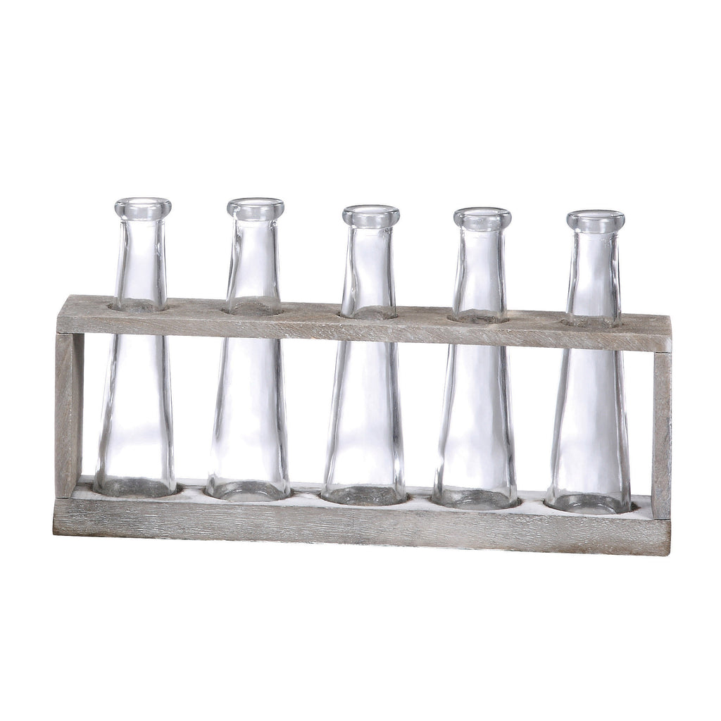 Distressed Grey Wood Vase Holder with 5 Glass Vases