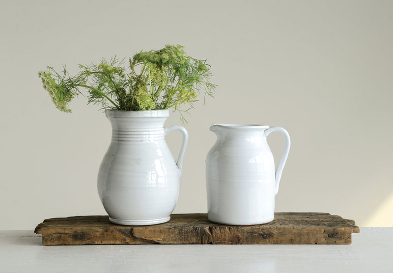 Small White Terracotta Pitcher