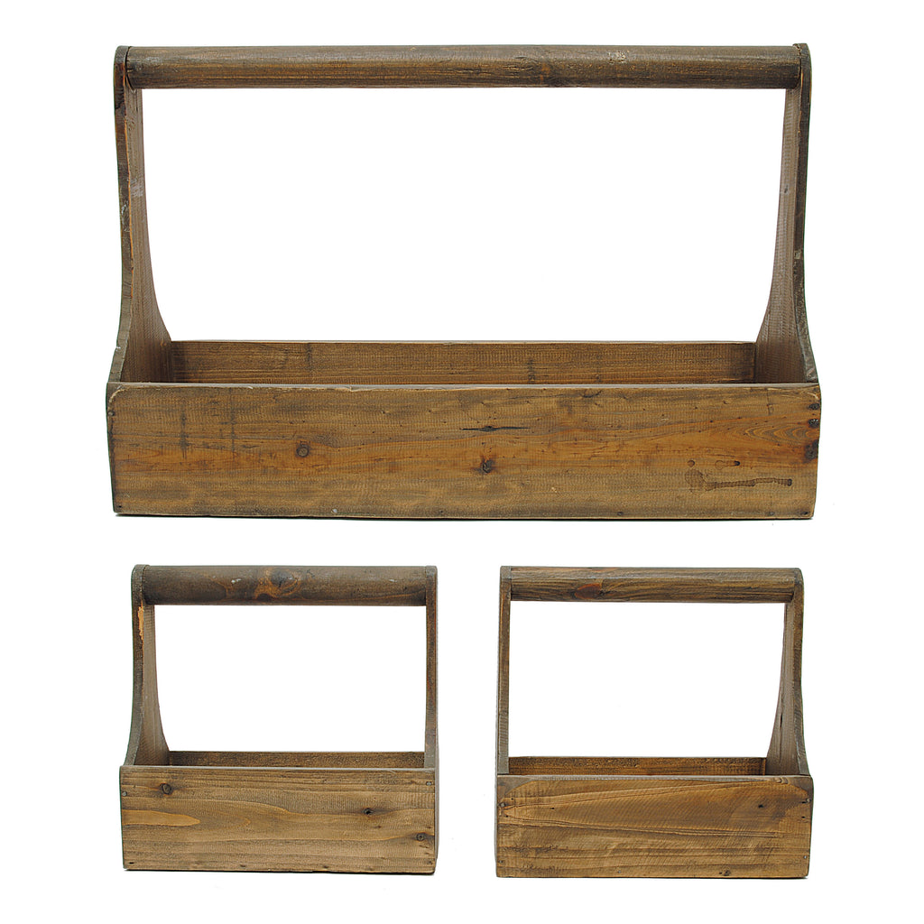 Set of 3 Rectangle Wood Planter Baskets with Handles