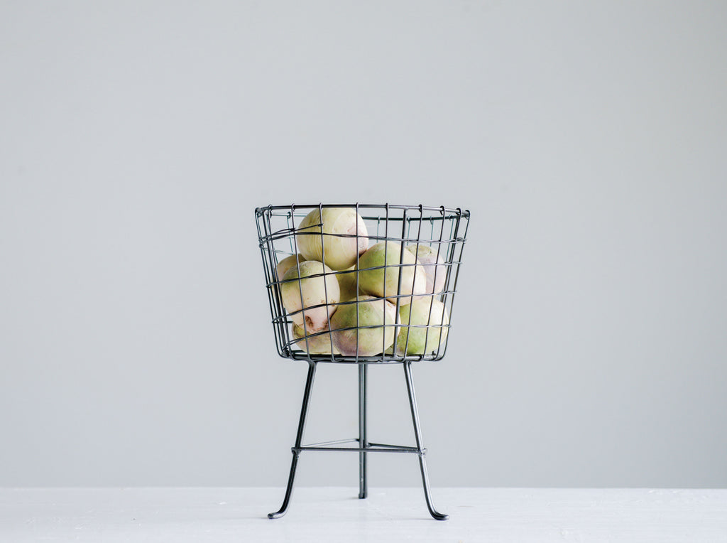 Round Wire Basket on Stand