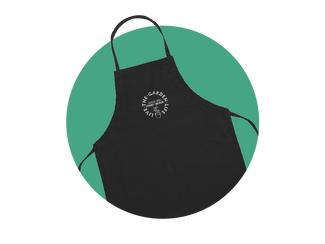 Ferry-Morse Gardening Apron against a teal colored circular background.