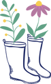 Garden boots with a sprig and flower growing out of them, illustrated.