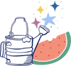 Watering can illustration next to a watermelon and stars.