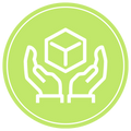 Icon of gentle hands holding a shipping box.