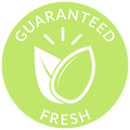 Guaranteed Fresh Seeds Icon with a seed and leaf inside.