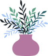Illustrated icon of a purple vase with colorful sprigs popping out.