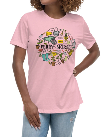 Colorful Ferry-Morse Logo T-Shirt in Pink on model.