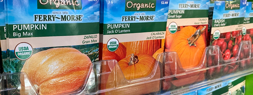 A selection of Ferry-Morse Organic seeds sitting on a retail shelf for shoppers to choose from.