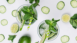 Top down view of some delicious looking mint mojitos!