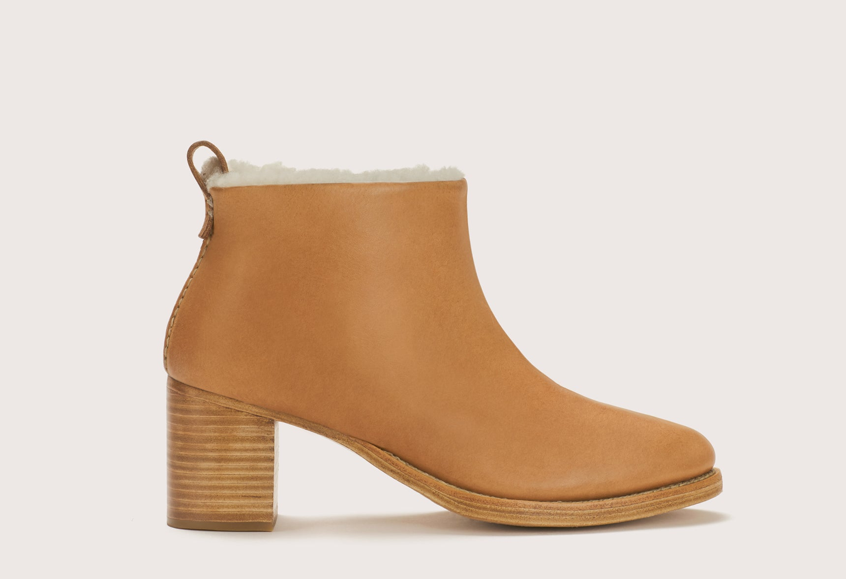 BRAIDED SHEARLING MID HEEL BOOT - WFBSMHBTL_TAN