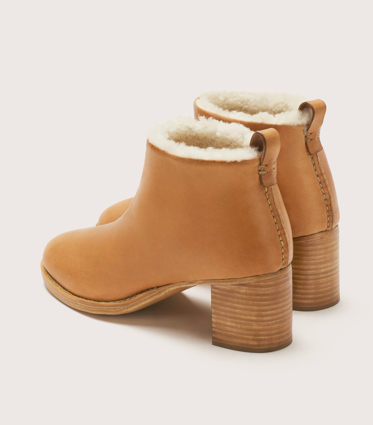 Braided Shearling Mid Heel Boot
