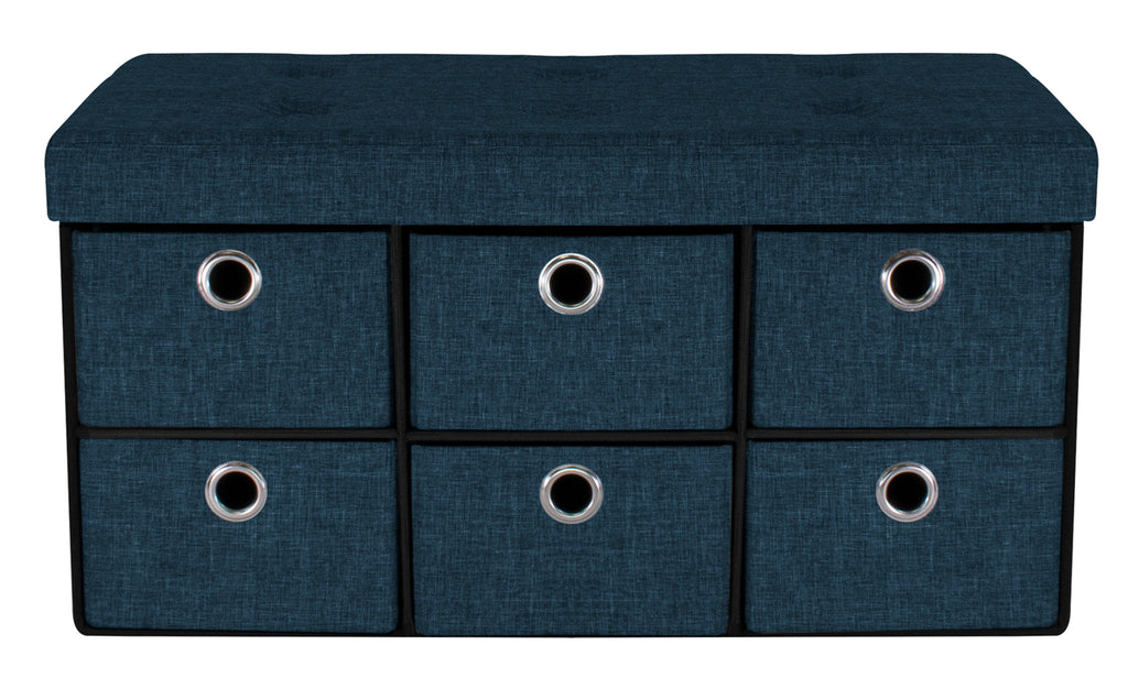 Awe Inspiring Faux Linen Storage Bench Chest With Drawers Sorbus Home Caraccident5 Cool Chair Designs And Ideas Caraccident5Info