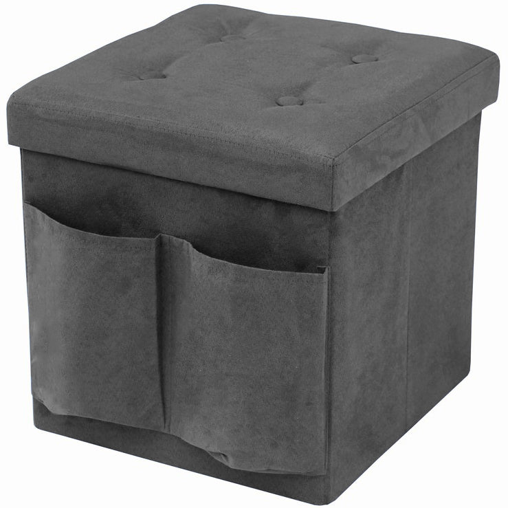Faux Suede Storage Ottoman Cube with Pockets - Sorbus Home