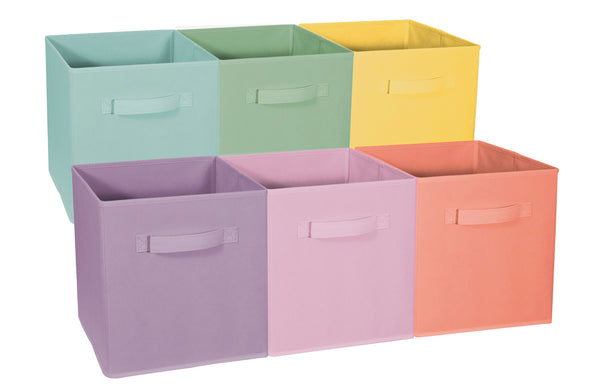 Storage Cube Bins - Pastel Color Variety Set (6-Pack) - Sorbus Home