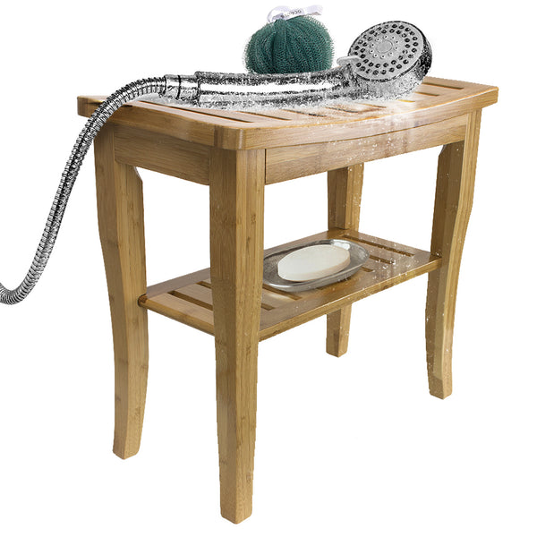 Bamboo Bench Stool with Shelf - Sorbus Home