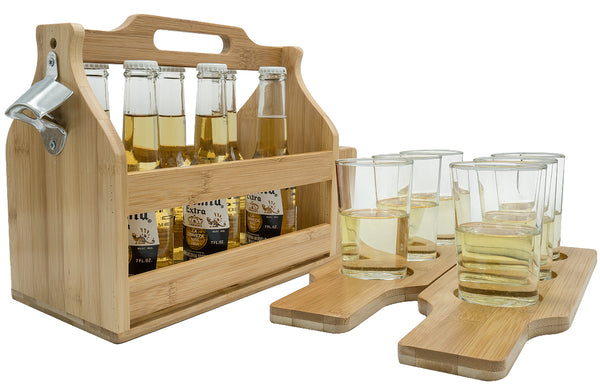Bamboo Wine Caddy with Bottle Opener & Sampler Paddles - Sorbus Home