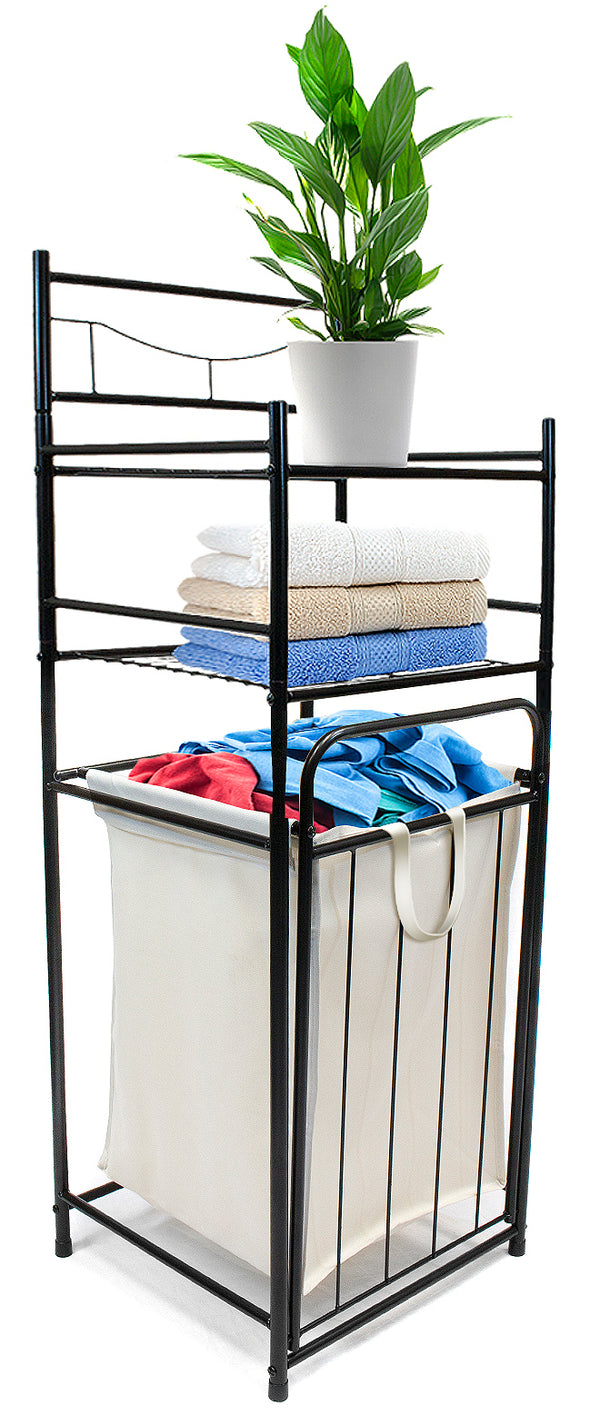 Bathroom Tower Shelf Hamper - Sorbus Home