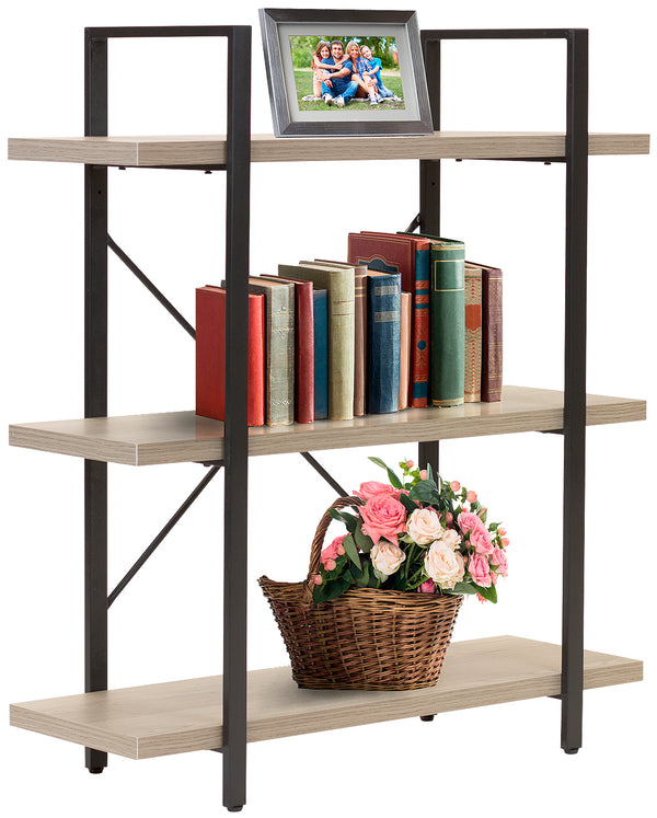 3-Tier Industrial Bookshelf - Sorbus Home