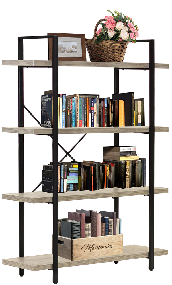 4-Tier Industrial Bookshelf - Sorbus Home