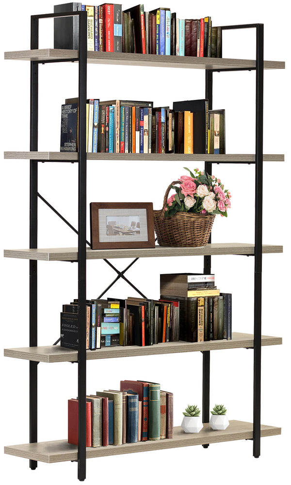 5-Tier Industrial Bookshelf - Sorbus Home