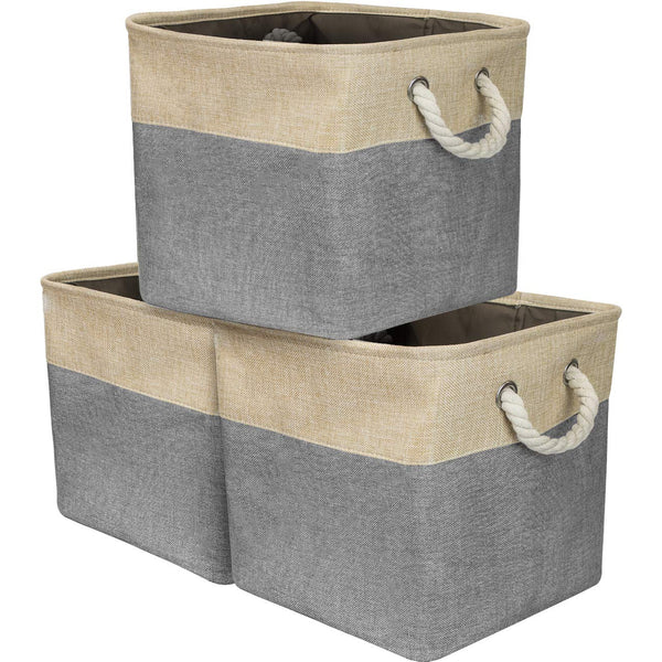 Twill Rope Storage Basket Set (3-Pack) - Sorbus Home