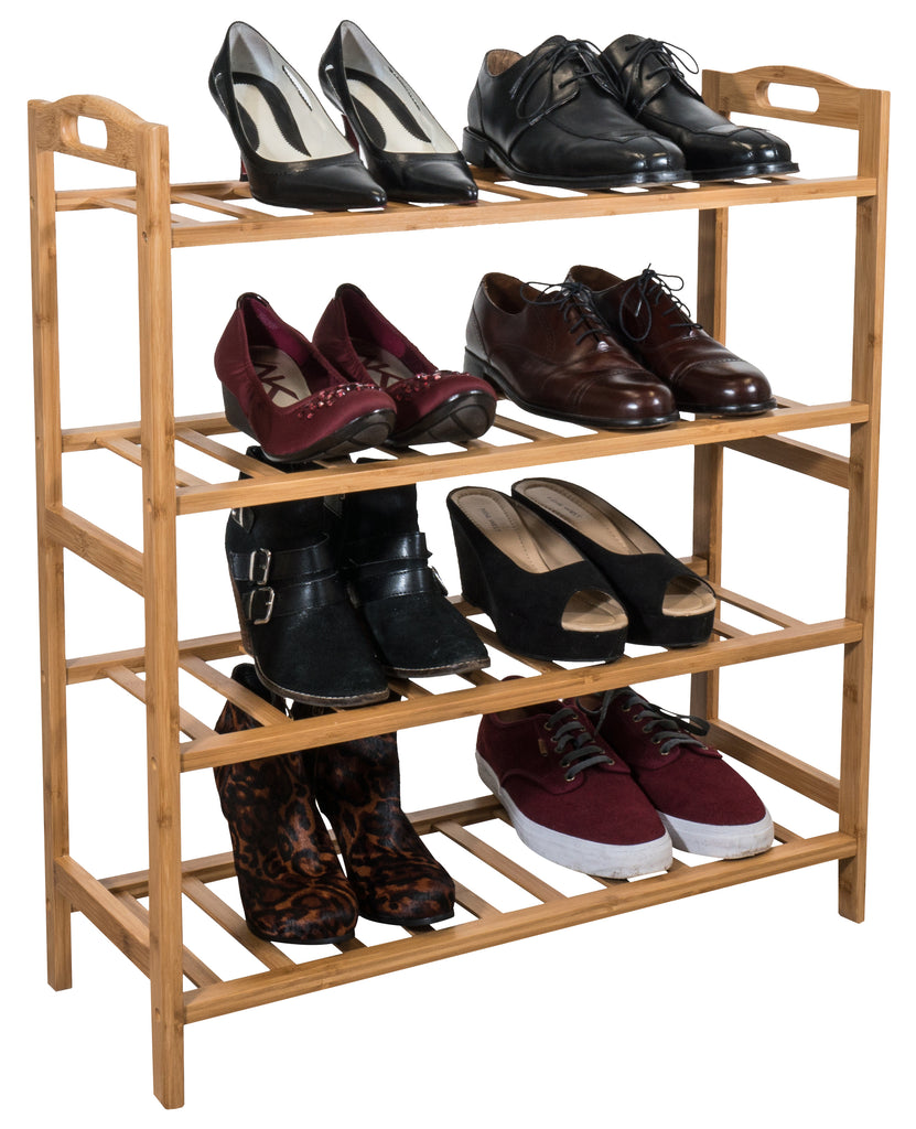 Bamboo 4-Tier Shoe Rack - Sorbus Home