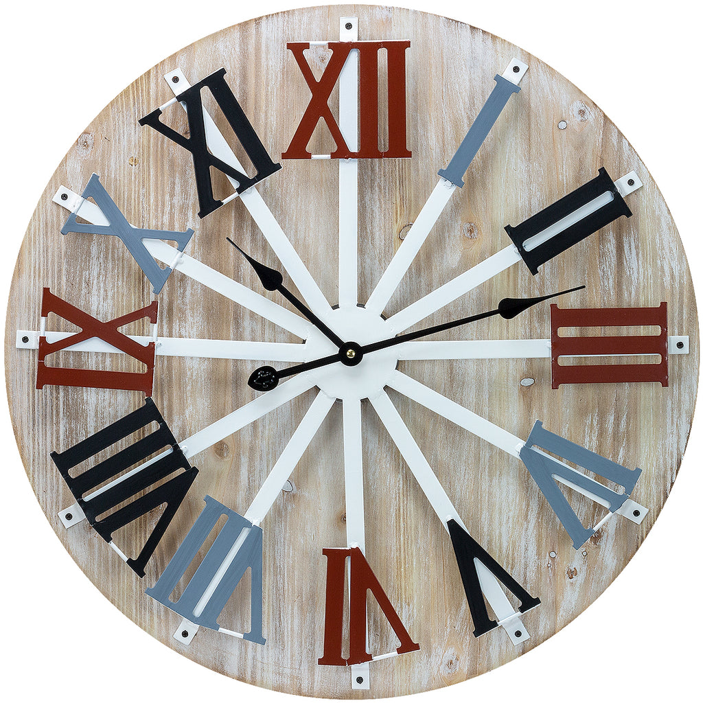 "24"" Wall Clock (Multi-color Wood) - Sorbus Home"