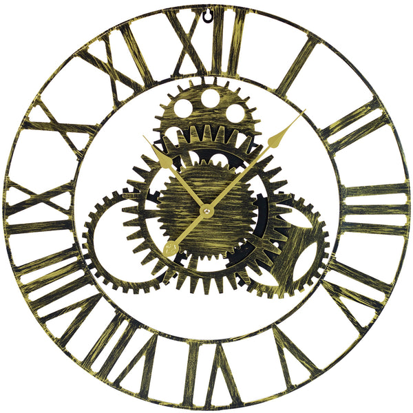 "24"" Rustic Gold Wall Clock - Sorbus Home"