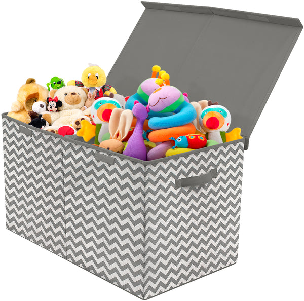 Kids Collapsible Storage Toy Chest - Chevron Pattern (Large) - Sorbus Home