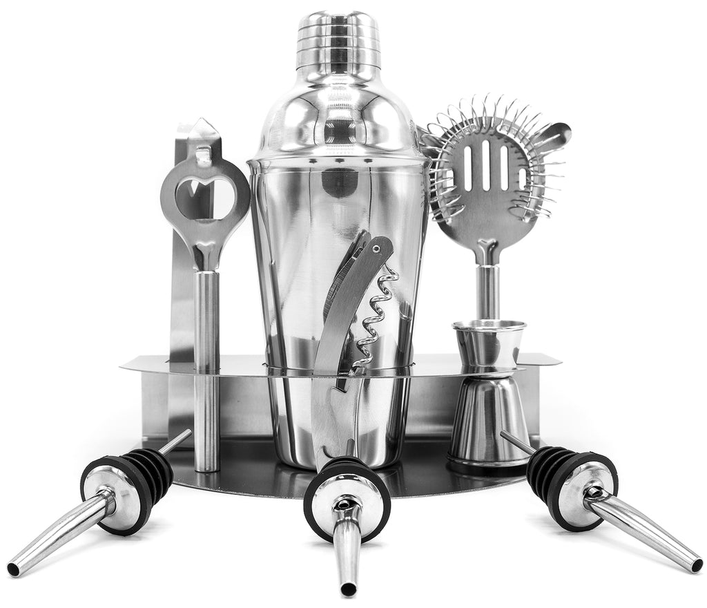 Home Cocktail Bar Set- Stainless Steel (10 Piece) - Sorbus Home
