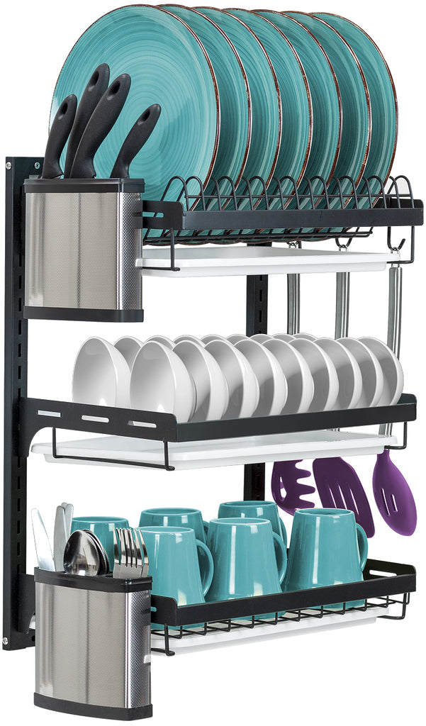 3-Tier Dish Drying Wall Rack - Sorbus Home