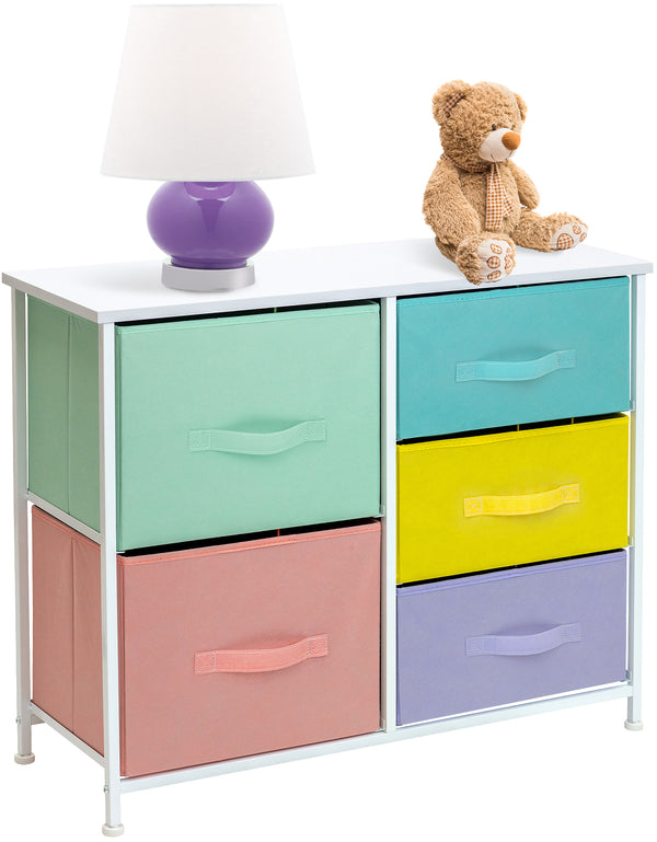 5-Drawer Dresser Chest (Pastel Multi-color) - Sorbus Home