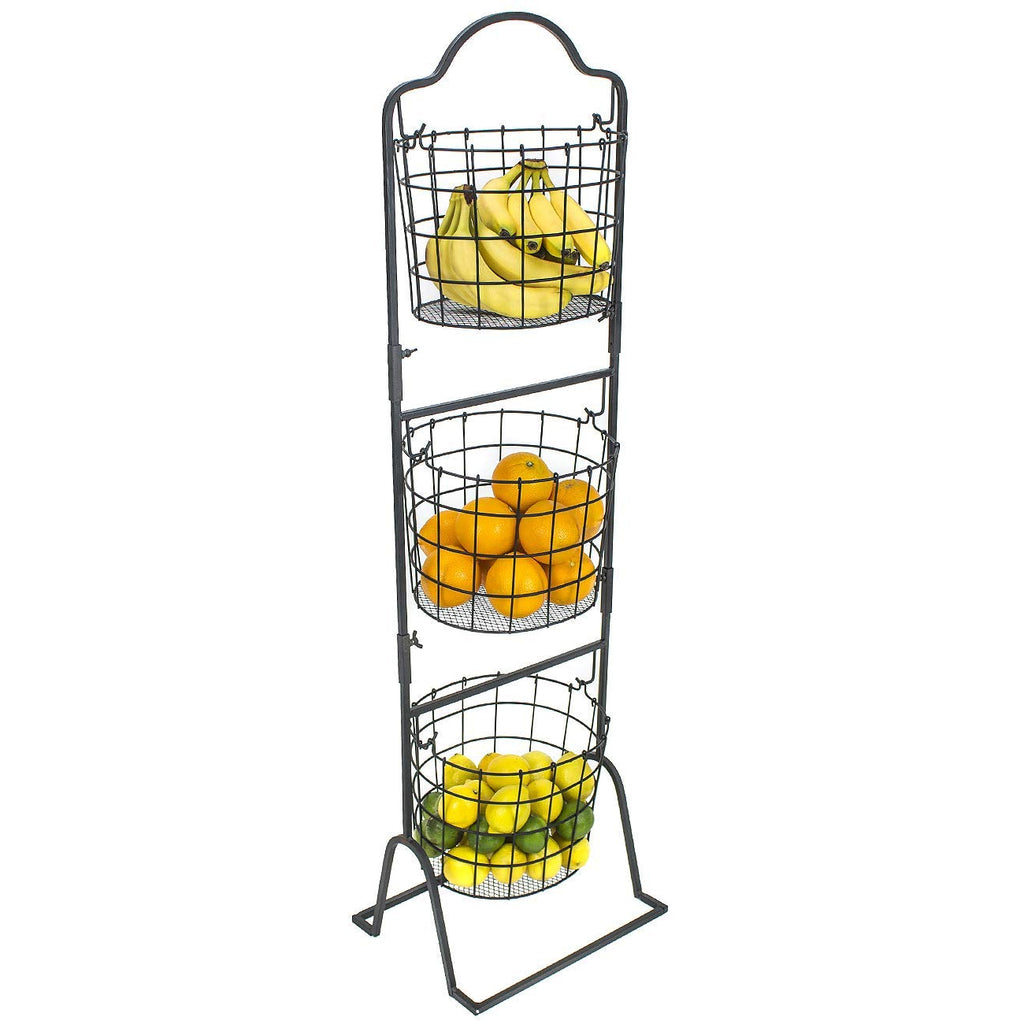 3-Tier Market Basket Stand - Oval Shaped - Sorbus Home