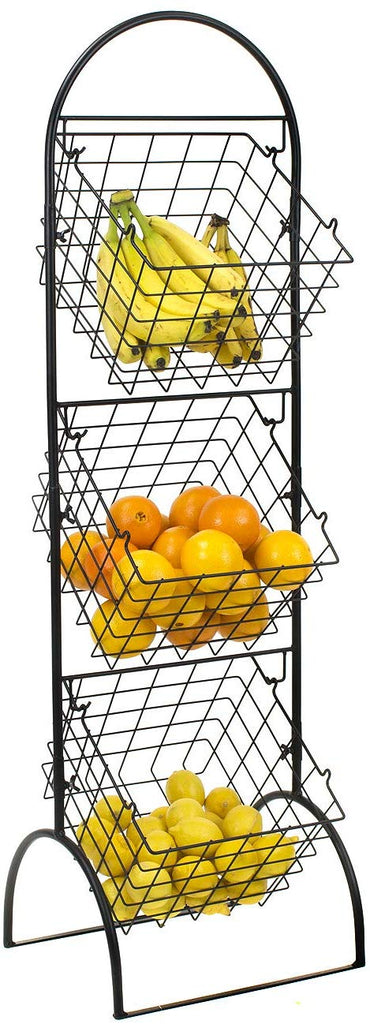 3-Tier Adjustable Market Basket Stand - Sorbus Home