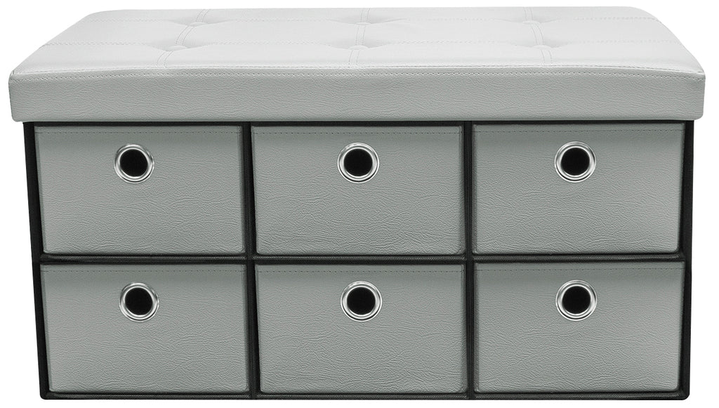 Faux Leather Storage Bench Chest with Drawers - Sorbus Home