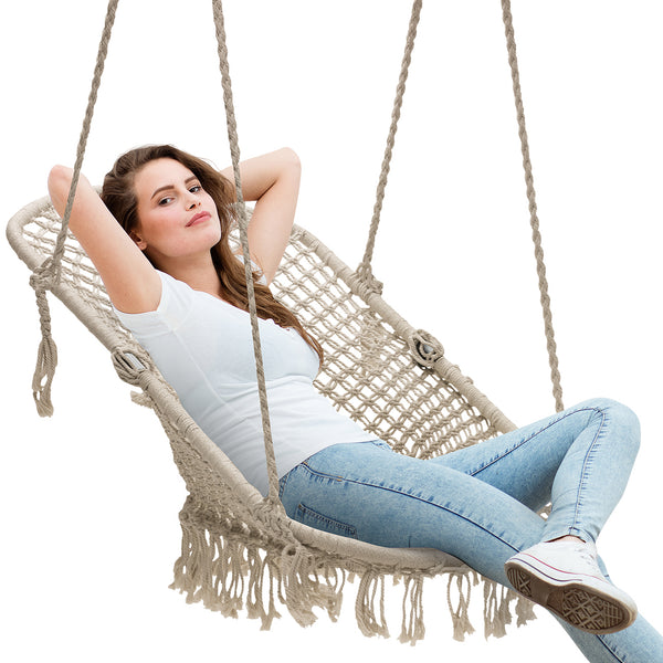 Macramé Lounge Chair Swing - Sorbus Home