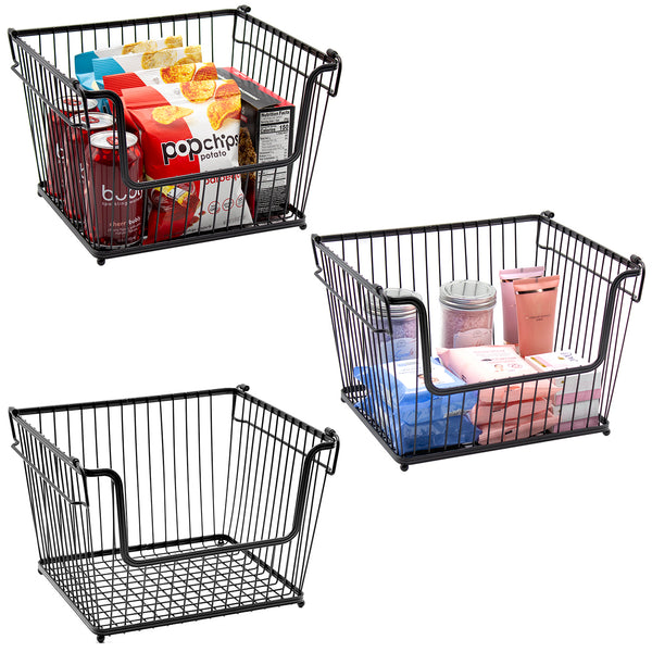 Farmhouse Wire Scoop Basket Bins (3-Pack) - Sorbus Home