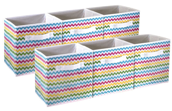 Chevron Pattern Storage Cube Basket Bin (6-Pack, Multi-color) - Sorbus Home