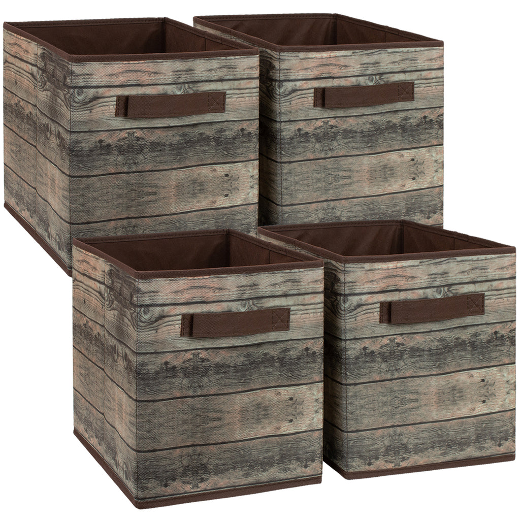 Rustic Wood Storage Basket Cube Bins (4-Pack) - Sorbus Home