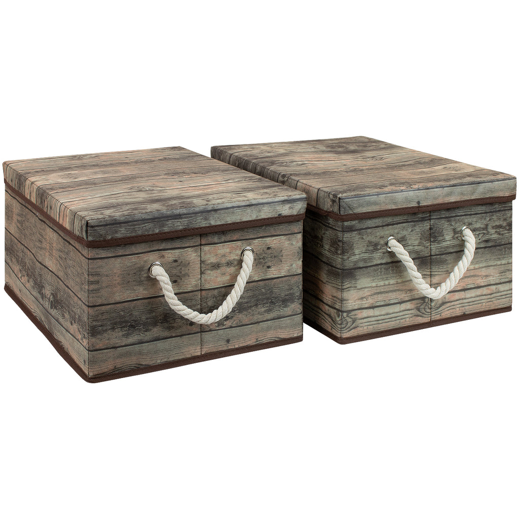Rustic Wood Pattern Storage Box Set (2-Pack) - Sorbus Home