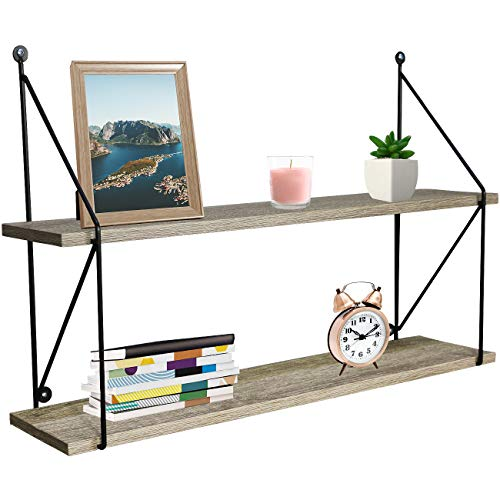 2-Tier Floating Shelf with Metal Brackets (Grey) - Sorbus Home