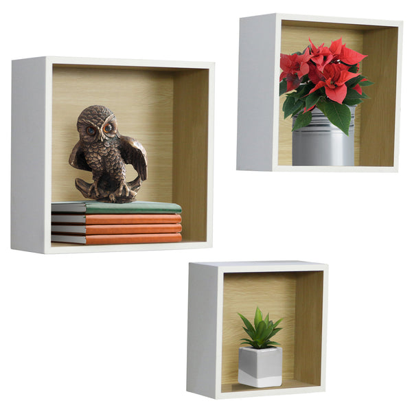 Sorbus Floating Wood Box Shelves - Cube/Square Frame Desing for photos, Decorative Items, and Much More - Sorbus Home