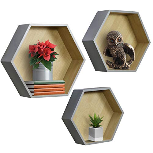 Honeycomb Floating Hexagon Shelves - (Set of 3) - Sorbus Home